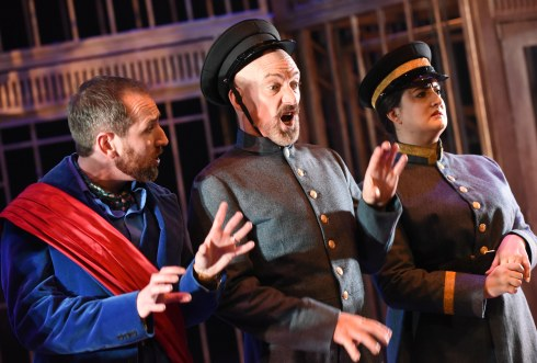 David Carlyle, Daryl Jackson and Rebekah Hinds in The Government Inspector. Photo credit Robert Day