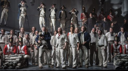 BILLY BUDD by Britten; Opera North; Gand Theatre; Leeds, UK; 15 October 2016; The Ship's Company; GARRY WALKER - Conductor; ORPHA PHELAN - Director; LESLIE TRAVERS - Set & Costume Designer; THOMAS C. HASE - Lighting designer; LYNNE HOCKNEY - Movement director; WILL TRISTRAM - Fight director; Credit: © CLIVE BARDA/ ArenaPAL;