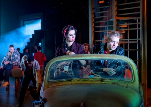 djalenga-scott-as-betty-rizzo-and-jonny-fines-as-kenickie-grease-at-curve-leicester-photo-manuel-harlan