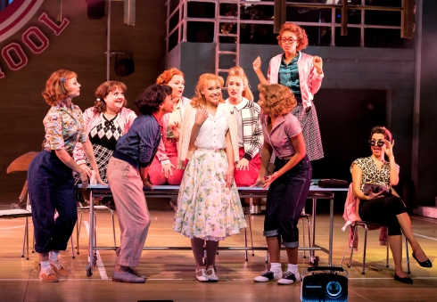 jessica-paul-as-sandy-dumbrowski-with-the-pink-ladies-grease-at-curve-leicester-photo-manuel-harlan