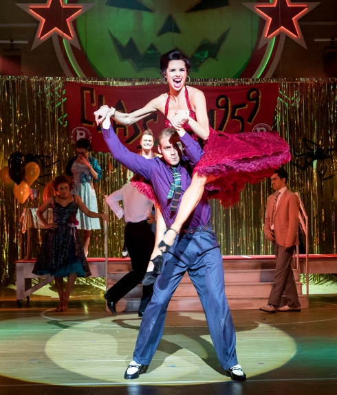 jonny-fines-as-kenickie-and-djalenga-scott-as-betty-rizzo-grease-at-curve-leicester-photo-manuel-harlan