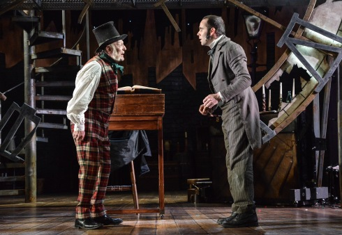 A Christmas Carol at Derby Theatre (Gareth Williams as Scrooge and Oliver Ashworth as Bob Cratchit)